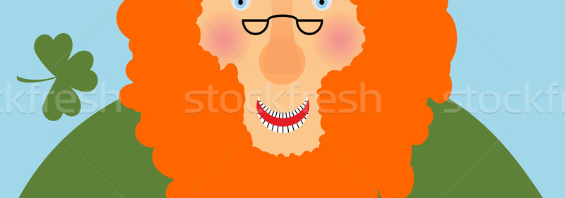 St. Patricks Day banner. Leprechaun face . Head with Red beard.  Stock photo © popaukropa