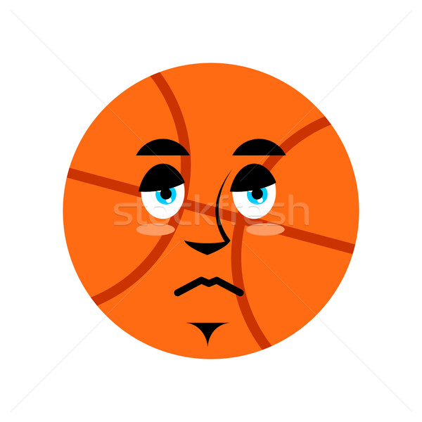 Basketball sad Emoji. Ball sorrowful emotion isolated Stock photo © popaukropa