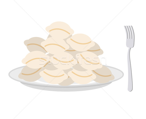 Dumplings in a plate and fork on a white background. Vector illu Stock photo © popaukropa