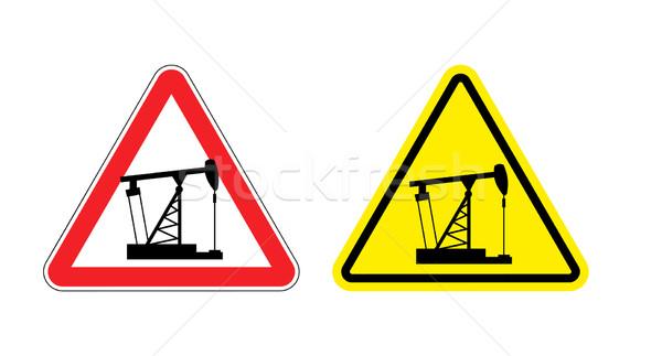 Figyelmeztető jel figyelem pumpa olaj veszély citromsárga Stock fotó © popaukropa