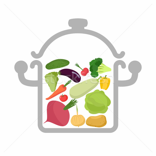 Vegetables in a saucepan. Logo for  vegetarian menu. Useful and  Stock photo © popaukropa