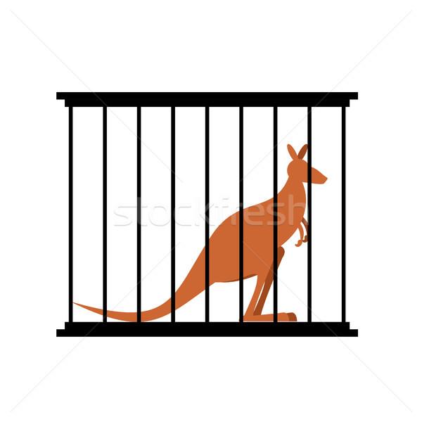 Kangaroo in cage. Animal in Zoo behind bars. Australian wild ani Stock photo © popaukropa