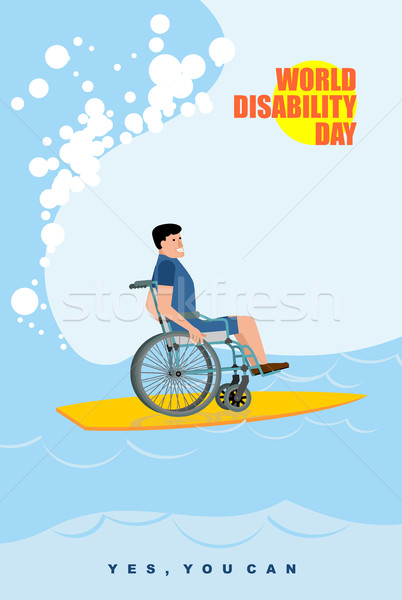 Stock photo: World Disabilities day. Man in wheelchair floats on Board for su