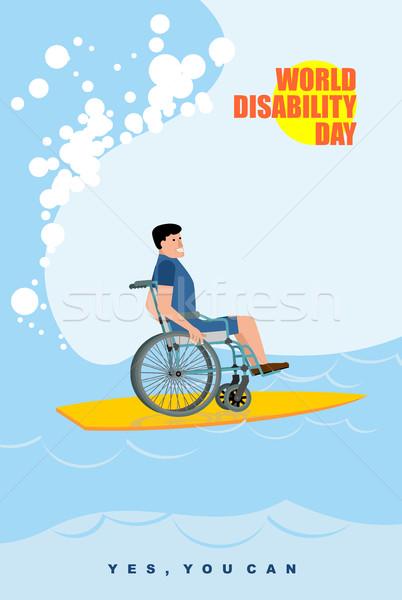 Stockfoto: Wereld · dag · man · rolstoel · boord · surfen