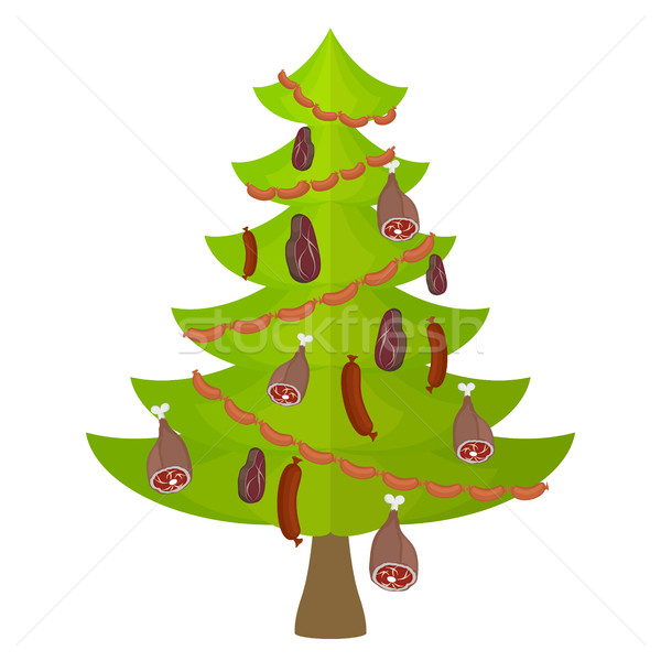 Tree meat food and delicacy. Christmas tree decorated with Garla Stock photo © popaukropa