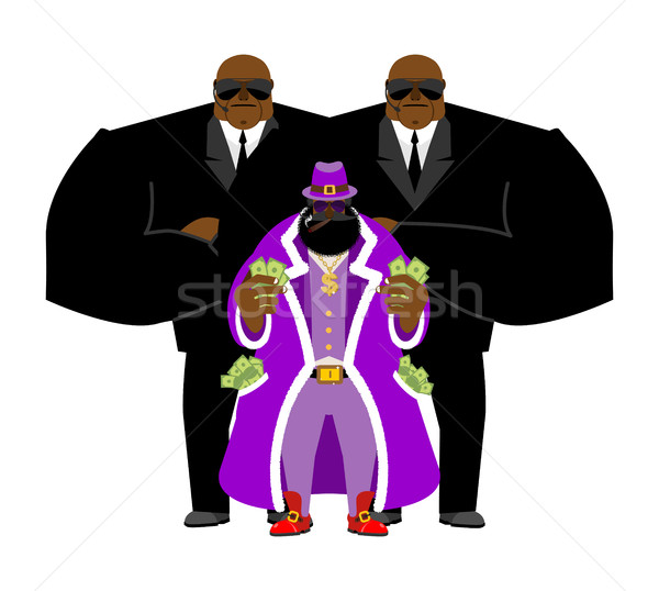 Pimp and bodyguard. Bright clothing and money. Pocket full of ca Stock photo © popaukropa