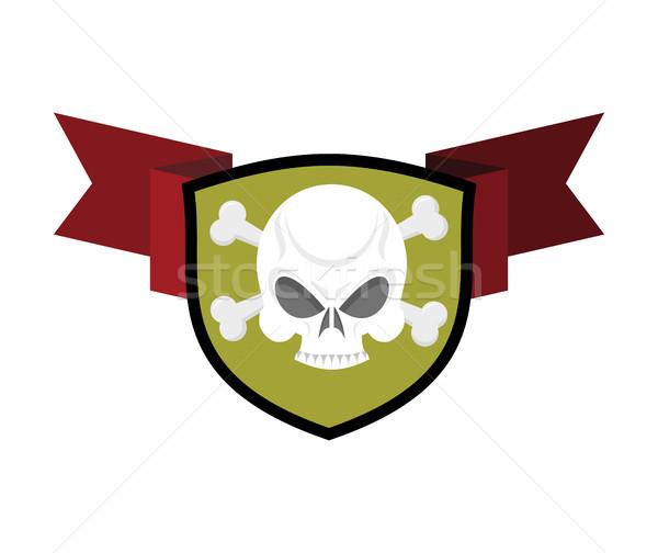 Skull and shield. Crossed bones and skeleton head emblem. Herald Stock photo © popaukropa