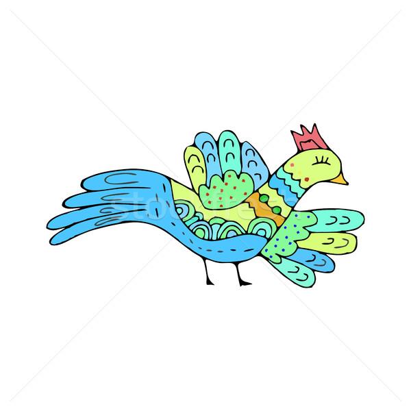 Ptaków gryzmolić etnicznych strony rysunek ptaszyna Zdjęcia stock © popaukropa
