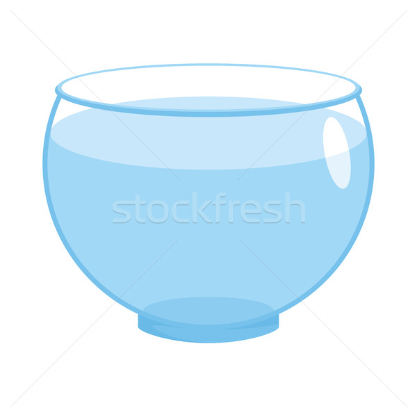 Stock photo: Aquarium empty round isolated. glass fishbowlon white background