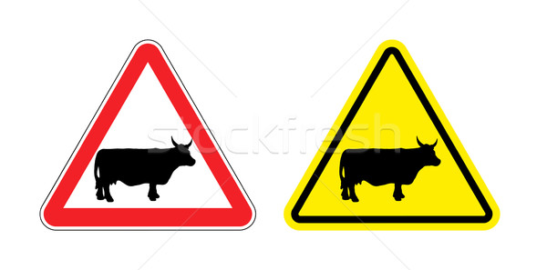 Warning sign attention cow. Hazard yellow sign herding. Silhouet Stock photo © popaukropa