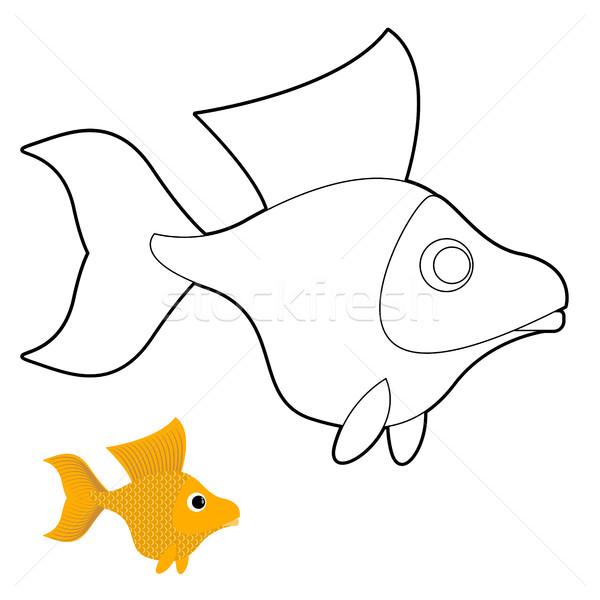 Akvaryum balığı boyama kitabı fantastik sarı balık vektör Stok fotoğraf © popaukropa