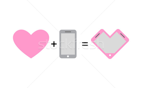 Stock photo: Love and phone. Fantastic concept phone design for lovers and ro