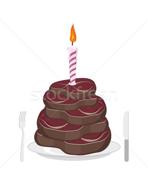 Carne torta bistecca candela complimenti buon compleanno Foto d'archivio © popaukropa