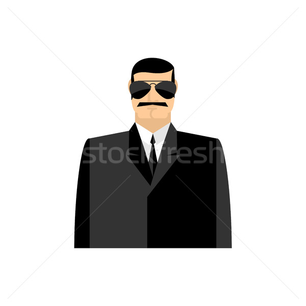 Spy portrait. Secret agent in black suit. Bodyguard isolated Stock photo © popaukropa