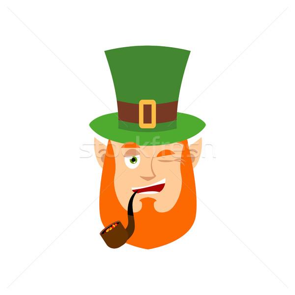Leprechaun winks. Dwarf with red beard happy Emoji. Irish elf em Stock photo © popaukropa