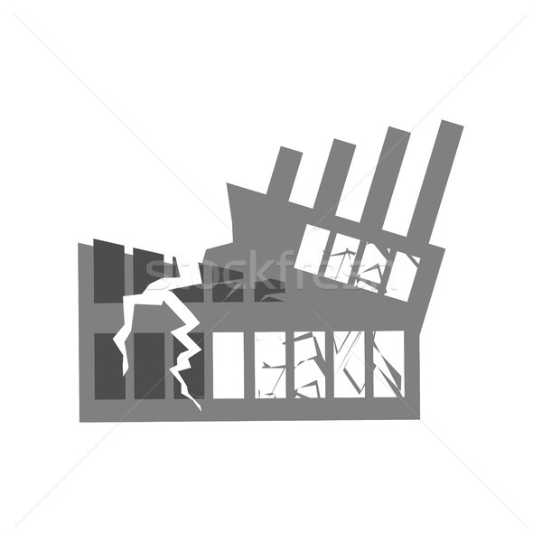 Stock photo: War Broken building. Cracks and splinters of Destroyed facility.