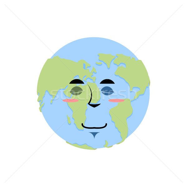 Earth sleeping Emoji. Planet asleep emotion isolated Stock photo © popaukropa