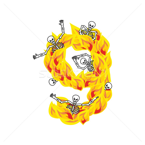 Number 9 hellish flames and sinners font. Fiery lettering nine.  Stock photo © popaukropa