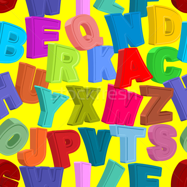 Color letters seamless pattern. Childrens alphabet. Cute funny A Stock photo © popaukropa