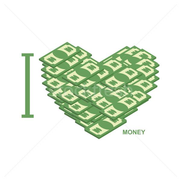 I love money. Symbol of heart of dollars. Illustration of cash t Stock photo © popaukropa