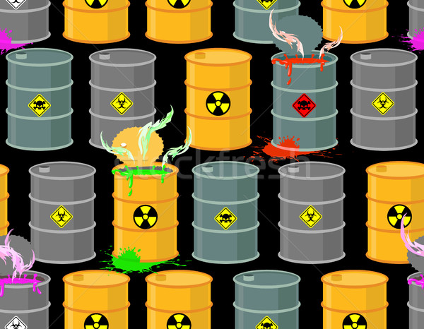 Biohazard seamless pattern. Open barrels of radioactive and toxi Stock photo © popaukropa