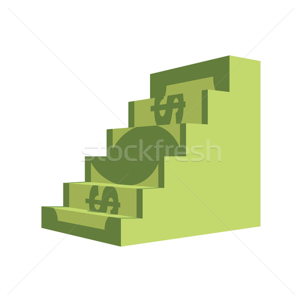 Dollar ladder. Steps out of  money. Ascent to wealth. Business i Stock photo © popaukropa