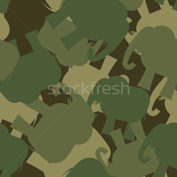 Stock photo: Army Pattern elephant. Camo background of green elephant. Milita