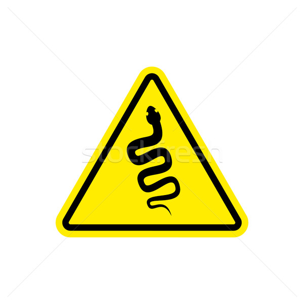 Snake Warning sign yellow. Venomous serpent Hazard attention sym Stock photo © popaukropa