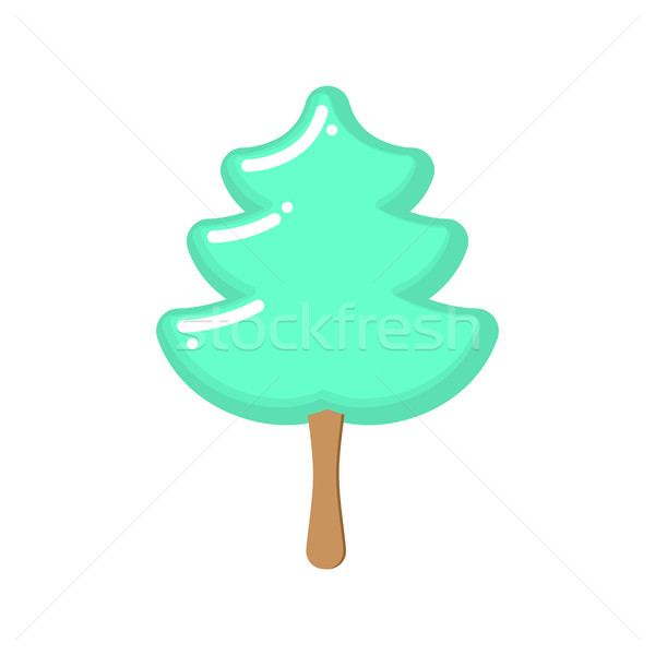 Christmas tree ice cream pistachio. Popsicle on stick in form of Stock photo © popaukropa