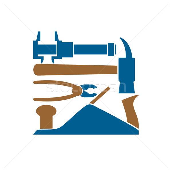 Naprawy logo narzędzie godło dokumentu podpisania Zdjęcia stock © popaukropa