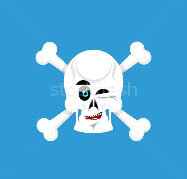 Skull and crossbones  winks Emoji. skeleton head happy emotion i Stock photo © popaukropa