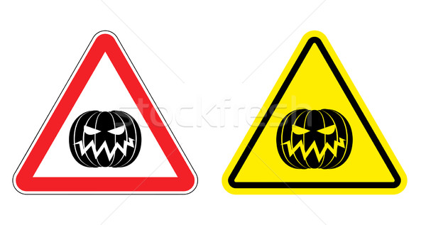 Warning sign attention Halloween. Hazard yellow sign terrible ho Stock photo © popaukropa