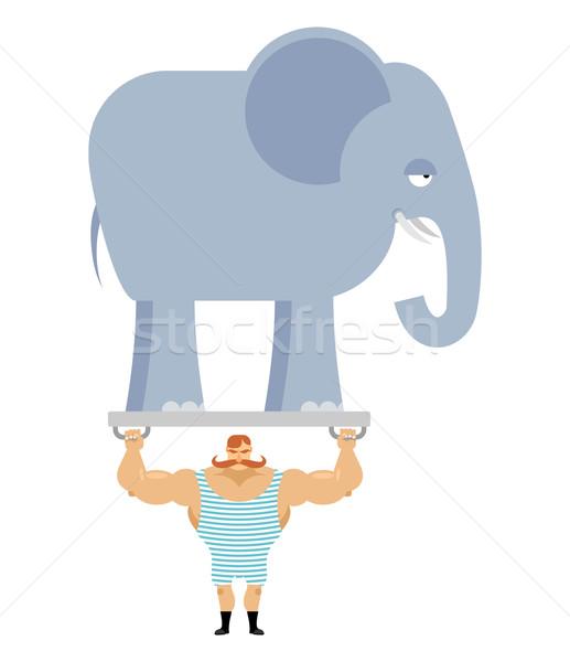 Foto stock: Antigo · atleta · elefante · vintage · circo · musculação