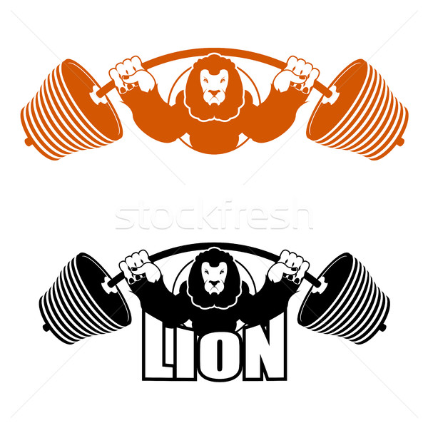 Angry Leo strong athlete. Barbell and Aggressive big beast. Lion Stock photo © popaukropa