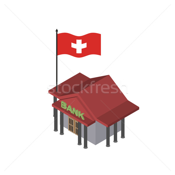 Swiss Bank. Reliable Bank with  flag of Switzerland. Vector icon Stock photo © popaukropa