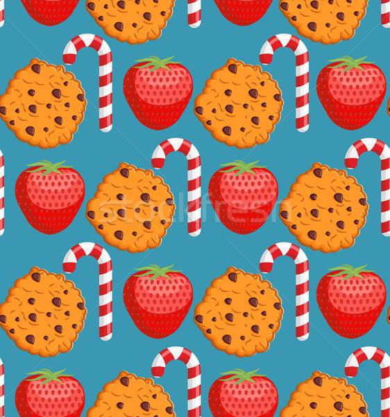 Doce padrão bolinhos de vara ornamento Foto stock © popaukropa
