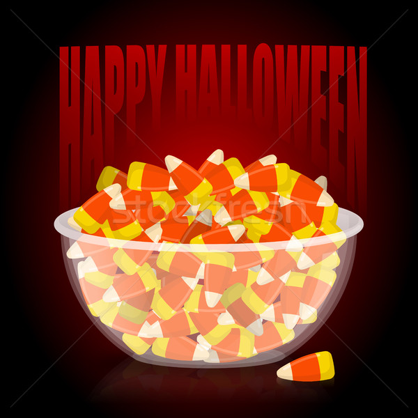 Happy Halloween. bowl and candy corn. Sweets on plate. Tradition Stock photo © popaukropa