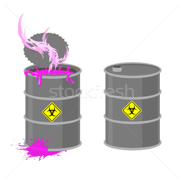 Barrel with Biohazard. Grey barrel with pink radioactive liquid. Stock photo © popaukropa