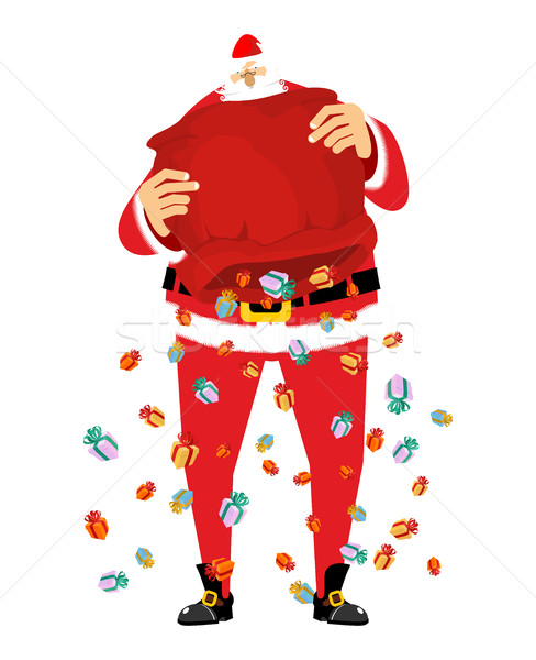 Mikulás eső ajándékok piros táska karácsony Stock fotó © popaukropa
