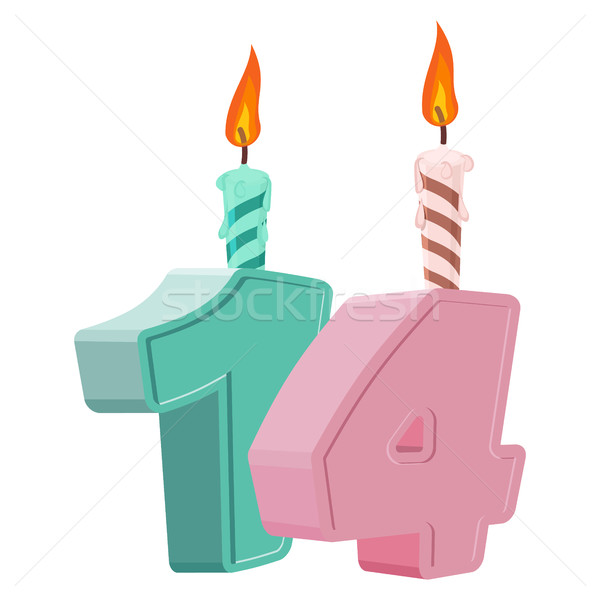 14 years birthday. Number with festive candle for holiday cake.  Stock photo © popaukropa
