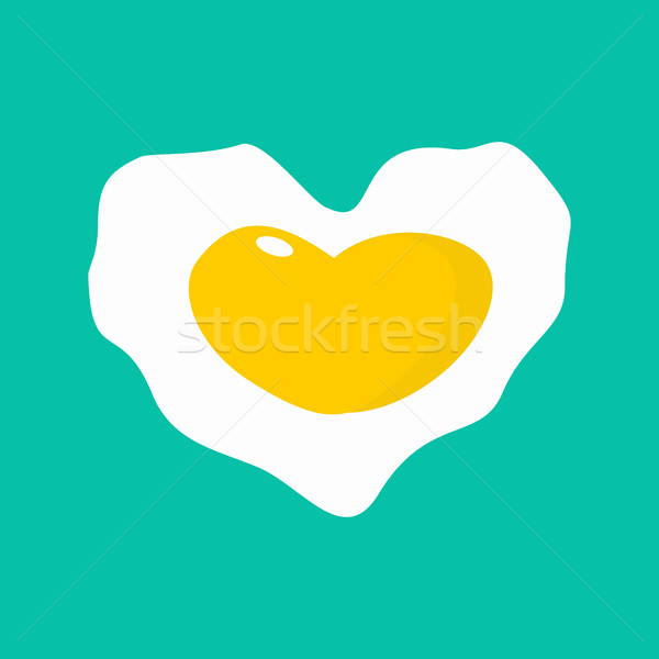 Omelette heart. I love fried eggs. I like scrambled egg Stock photo © popaukropa