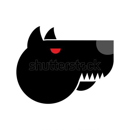 Doberman logo. Angry dog emblem. Aggressive pet. Sign for securi Stock photo © popaukropa