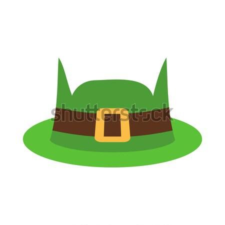Hoed groene geïsoleerd Ierse retro Stockfoto © popaukropa