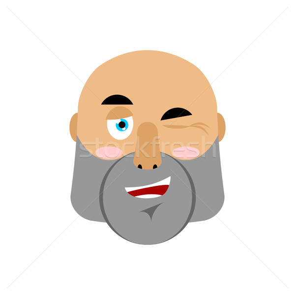 brutal Man winks Emoji. Men face happy emotion isolated Stock photo © popaukropa