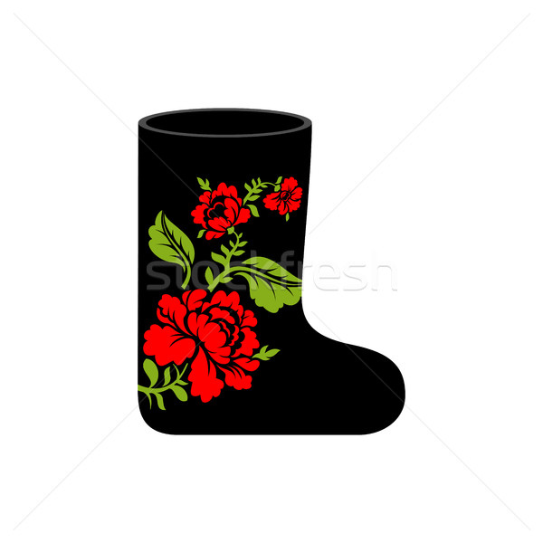 Russian winter boots (valenki) Khokhloma painting. Warm shoes in Stock photo © popaukropa