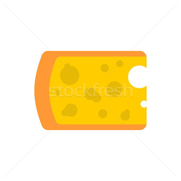 Cheese piece isolated. Yellow dairy product on white background Stock photo © popaukropa
