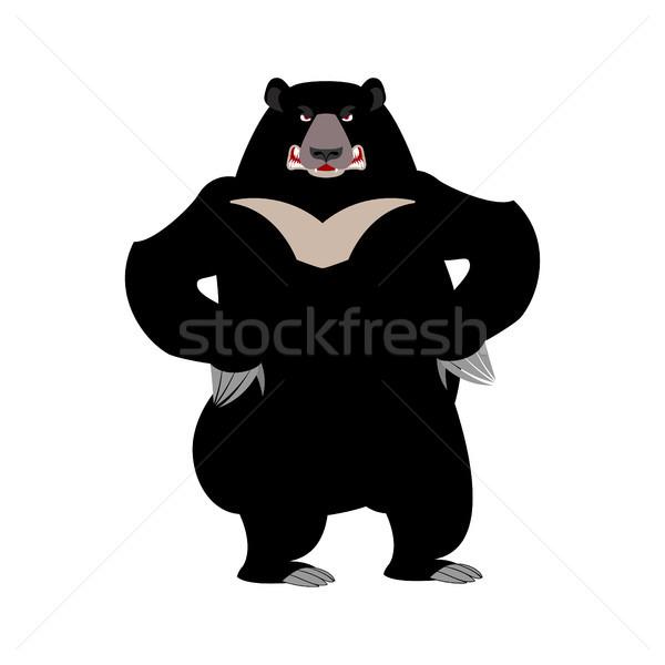 Himalayan bear angry emotion. aggressive wild animal emoji. Blac Stock photo © popaukropa
