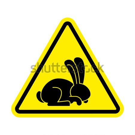 Attention rabbit sex. Caution bunny hare intercourse. Yellow tri Stock photo © popaukropa
