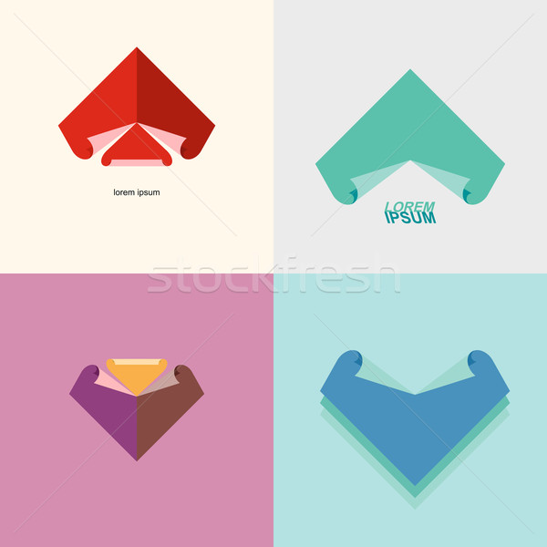 Set Abstract logo sheet of paper. Technical drawing and blueprin Stock photo © popaukropa