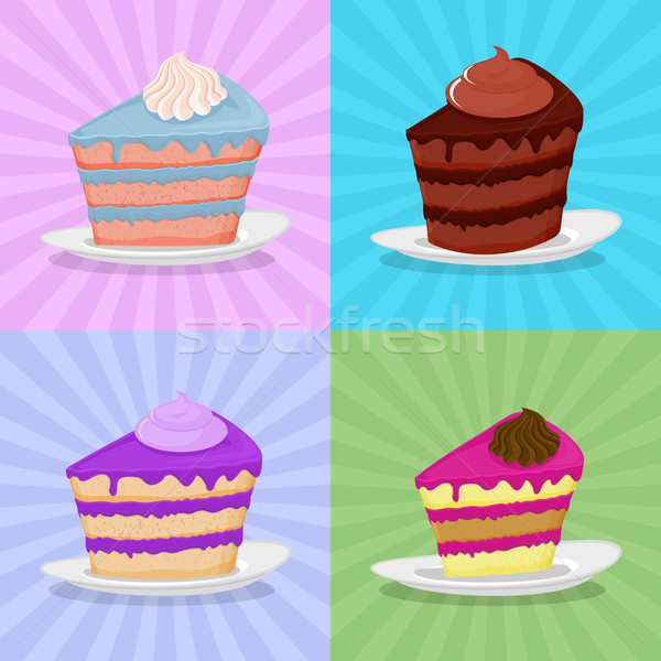 Set a piece of cake on a plate. Cake on a bright background. Str Stock photo © popaukropa
